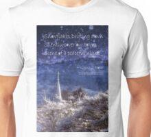 Snowflakes Drifting down haiku, snowy church steeple Unisex T-Shirt