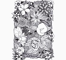 Black and White Floral Design Unisex T-Shirt