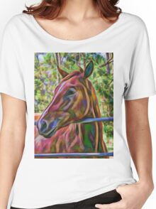 Portrait of beautiful horse Women's Relaxed Fit T-Shirt