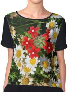 Beautiful white flowers pattern, with small red flowers in the center. Chiffon Top