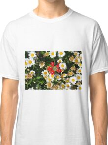 Beautiful white flowers pattern, with small red flowers in the center. Classic T-Shirt