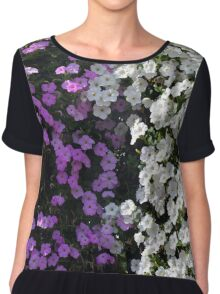 White and purple flowers, natural background. Chiffon Top