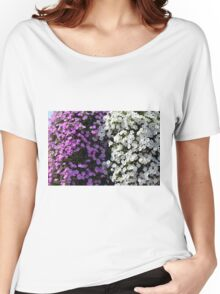 White and purple flowers, natural background. Women's Relaxed Fit T-Shirt