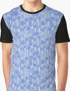 White on Blue Graphic T-Shirt