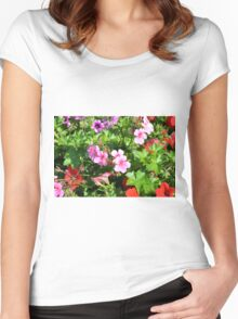 Colorful flowers, spring background. Women's Fitted Scoop T-Shirt