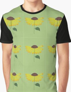 Yellow spring flower pattern on green Graphic T-Shirt