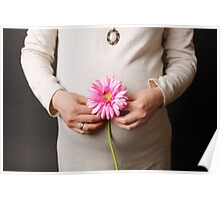 pregnant woman with pink flower Poster