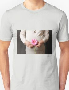 pregnant woman with pink flower T-Shirt