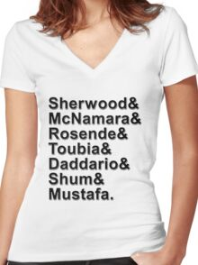 Shadowhunters Cast Names Women's Fitted V-Neck T-Shirt