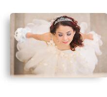 beautiful bride in white dress Canvas Print