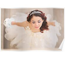 beautiful bride in white dress Poster