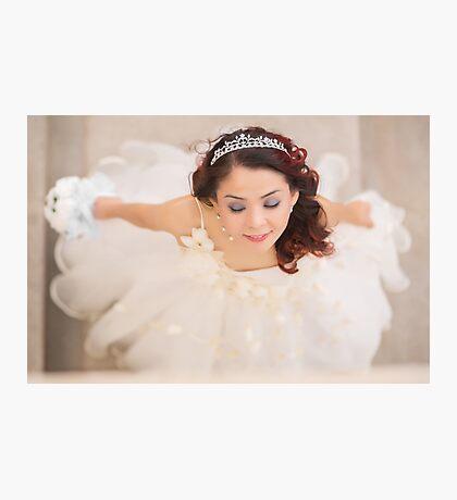 beautiful bride in white dress Photographic Print