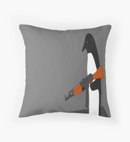 Crazy Penguin Throw Pillow