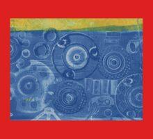 Techno 6 - Techno Landscape - Monotype Print in Blue Kids Tee