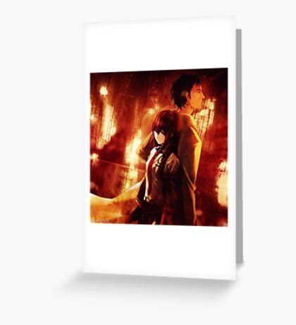 Okabe Rintaru Makise Kurisu Steins Gate Greeting Card