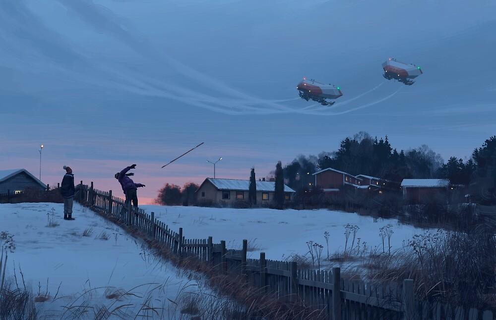 Flodhästen och Datamongot by Simon Stålenhag