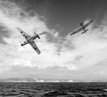 Bf109 down in the Channel B&W version by Gary Eason