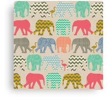 linen baby elephants and flamingos Canvas Print