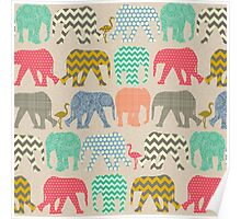 linen baby elephants and flamingos Poster