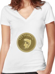 Fly Fishing Gold Coin Retro Women's Fitted V-Neck T-Shirt