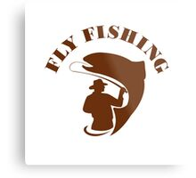 Trout Fly Fishing Isolated Retro Metal Print