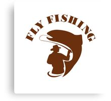 Trout Fly Fishing Isolated Retro Canvas Print