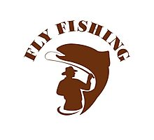 Trout Fly Fishing Isolated Retro Photographic Print