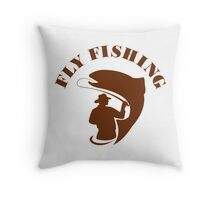 Trout Fly Fishing Isolated Retro Throw Pillow