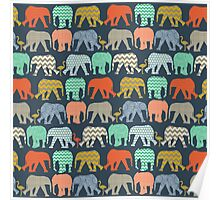 baby elephants and flamingos sienna Poster