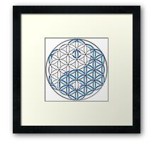 Geometric Yin Yang - Tree of Life - Blue and White Framed Print