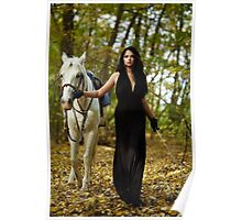Woman with horse in the forest Poster