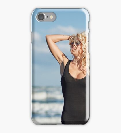 Sexy woman on the sea shore iPhone Case/Skin