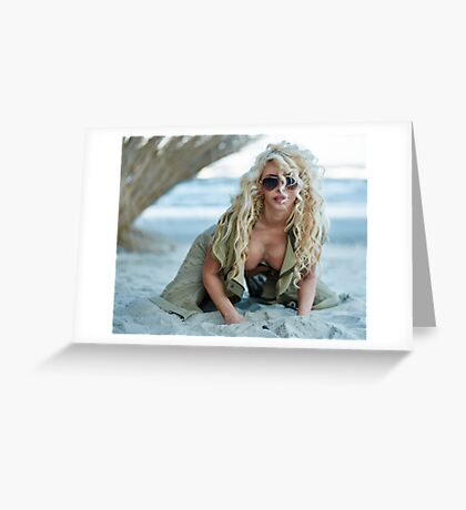 Gorgeous sexy blond on the beach Greeting Card