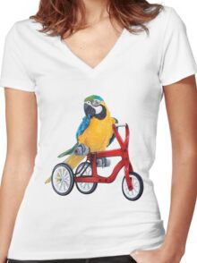 Parrot Macaw bike red Women's Fitted V-Neck T-Shirt