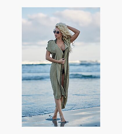 Beautiful woman on the sea shore Photographic Print