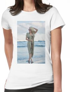 Beautiful woman on the sea shore Womens Fitted T-Shirt