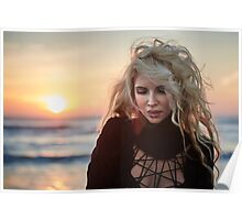Beautiful woman on the beach at sunrise Poster