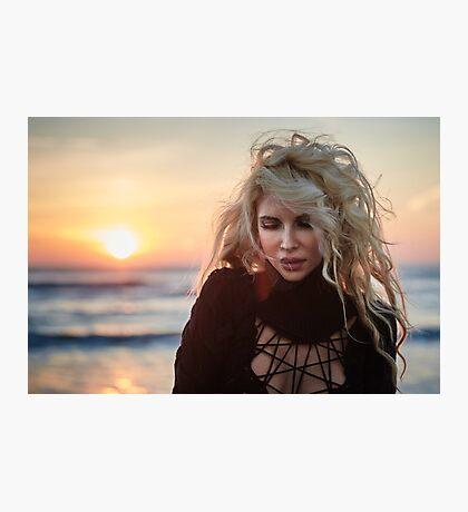 Beautiful woman on the beach at sunrise Photographic Print