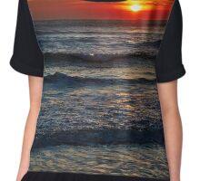 Colorful sunrise over the sea Chiffon Top