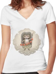 Animal Hedgehog Strawberry Women's Fitted V-Neck T-Shirt