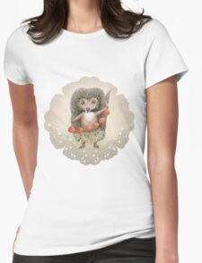 Animal Hedgehog Strawberry Womens Fitted T-Shirt