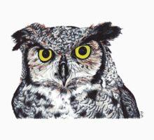 Owl with Yellow Eyes Baby Tee