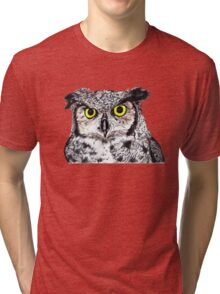 Owl with Yellow Eyes Tri-blend T-Shirt