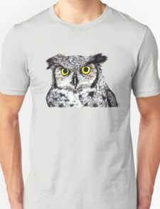 Owl with Yellow Eyes Unisex T-Shirt