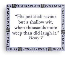 His Jest Shall Savour - Shakespeare Metal Print