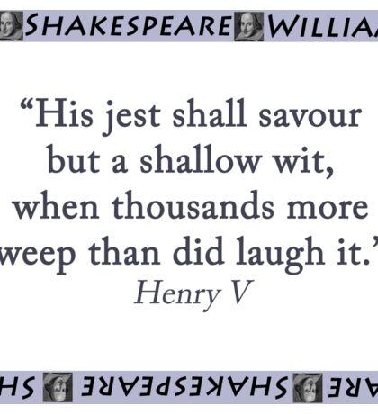 His Jest Shall Savour - Shakespeare Sticker