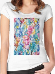 Abstract floral painting Women's Fitted Scoop T-Shirt