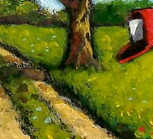 Red Country Mailbox, Summer, Painting Sticker