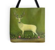 White Stag with Flowers Tote Bag