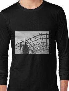 Rusted Industrial Tank and Metal Frame b&w Long Sleeve T-Shirt